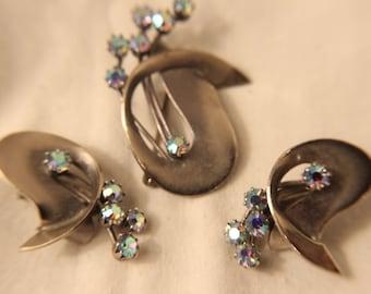 Aurora Borealis Earrings and Brooch