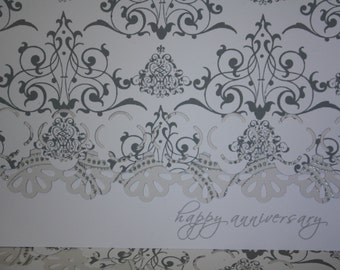 Silver and white Anniversary Note Cards