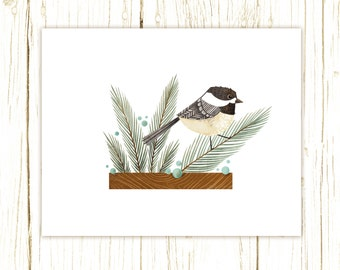Chickadee Print -- bird art -- bird art 52 birds stephanie fizer coleman illustration