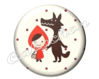 2 cabochons 20mm glass tale Red Riding Hood, Wolf