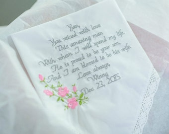 Mother of the Groom Gift Mother of the Groom Embroidered Wedding Handkerchief Gift for Grooms Mom Embroidered Wedding Handkerchief Gift Mom