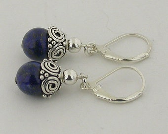 Genuine Lapis With Lever Back Sterling Silver Earrings 43