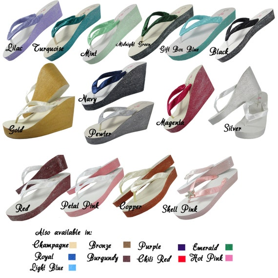 Wedding colors and Heart and Oatmeal Ivory for Brides Bridesmaid for the Flip and glitter Custom Flops paint Champagne qfR8wfB