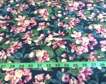 "Northcott, ""Mystic Garden""  Teal floral  by the half yard"