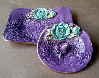 Ceramic Ring Holder with Trinket Dish Set  Engagement Ring Holder Purple and aqua with Gold edging