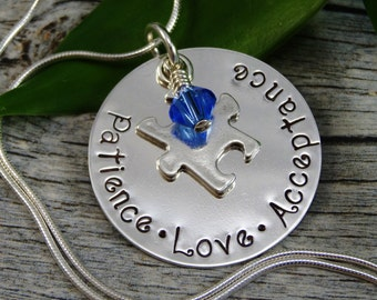 Hand Stamped Jewelry - Autism - Autism Awareness - Puzzle Piece Charm - Sterling Silver Necklace - Personalized Jewelry