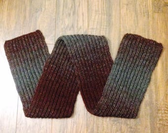 Handmade Knitted Wool Scarf (Burgandy / Wine and Gray Ombre)