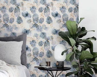 Floral wallpaper, Floral sticker, Removable wallpaper, Floral wall mural, BW076