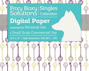 Instant Download Purple Vintage Skeleton Key Digital Paper for Scrapbooking - Digital Download Supply - Printables - Scrapbook Paper