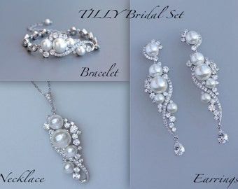 Pearl Wedding Jewelry SET, Earrings Bracelet & Necklace Set, Pear Bridal Earrings, Chandelier Earring Set, TILLY