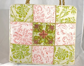 Pink and Green Fortuny Tote with Antique Embellishments  6415