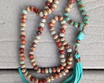 Southwestern Boho Turquoise Leather Tassel Impression Jasper hand knotted bu SeeJanesBeads