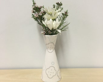 handmade porcelain bud vase: Dot Dot Biscuit by Meredith Host in Grey and Icy Blue