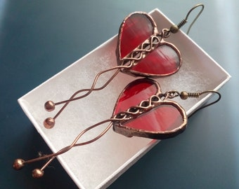 Valentines gift, contemporary earrings, transparent stained glass, wearable art, artistic jewelry, gift for women, red earrings, Love
