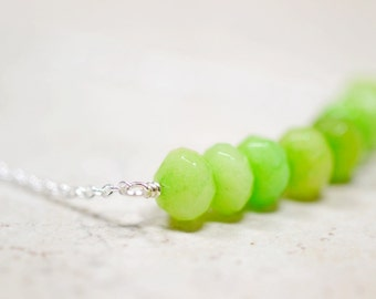 Peridot Green Beaded Necklace, Green Gemstone Jewelry, Gem Stone Cluster Bar Necklace, Sterling Silver, August Birthstone