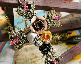 After Life Accessories Handmade Antique Gold Cross Skull Roses Necklace