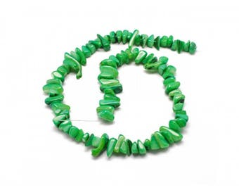 70 color mother of Pearl chips beads Green