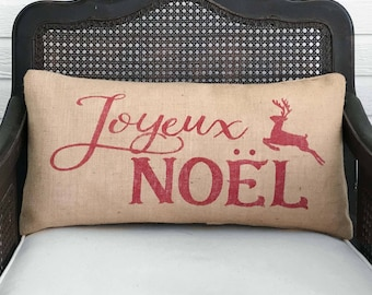 Merry Christmas in any Language - Your Choice - Burlap Christmas Pillow with Reindeer  - Feliz Navidad  Pillow  Joyeux Noel - Deer Decor