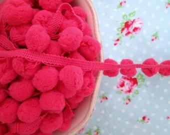 LARGE Pom Pom Trim - Raspberry Punch Dangling - 3/4 inch Ball Fringe - 1 Yard