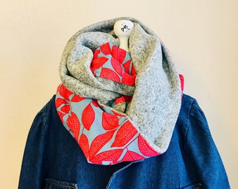 Infinity Scarf - African - OBI Scarf - pink leaves