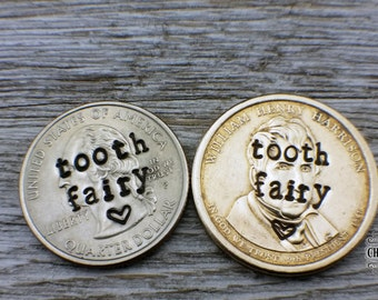 Tooth Fairy, hand stamped quarter, tooth lost gift, tooth fairy, lost tooth, tooth fairy coin, 1st tooth, dollar coin, gold dollar coin