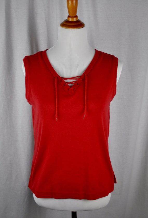 Vintage 1980s Oleg Cassini Red Sleeveless Shirt Tee Sz XL