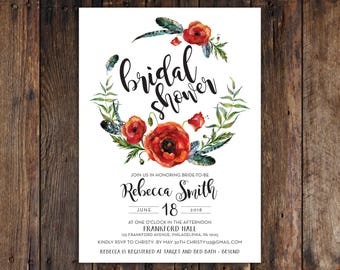 Fall or Winter Burgundy & Red Flowers with Greenery 5x7 Bridal Shower Invitation Print at Home DIY Version