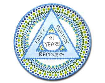 AA Alcoholics Anonymous Personalized  AA Birthday/Recovery Plate - Unity, Service, Recovery - 8.75 inch plate