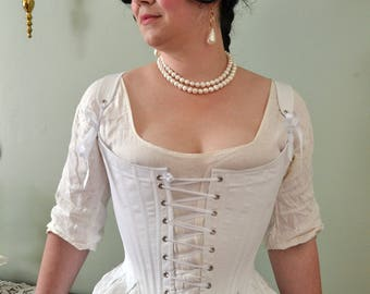 CUSTOM Front Lacing Stays 1780's Georgian Corset Historical 18th Century Colonial Costuming Marie Antoinette - Made to your Measurements