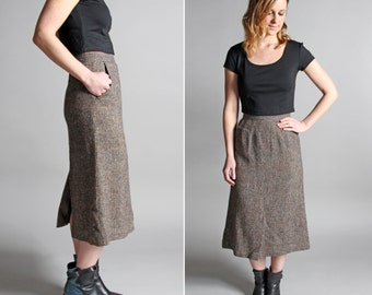 FINAL SALE Vintage Speckled Tweed Tulip Skirt - Straight A-line Knee Length Midi Fall Collegiate Gray Grey Pocket 1970s 70s - Size Small S