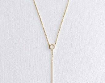 Gold Long Bar Necklace