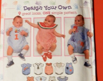 Simplicity 7022 Design your own baby romper pattern 9 great looks, one simple pattern Uncut Sizes newborn, small, medium and large