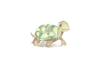 Print - 4x6 Watercolor Turtle hand painted for nursery or home decoration cute tortoise
