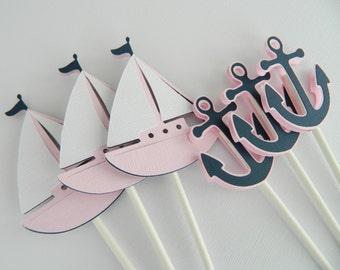 12 Light Pink Nautical Cupcake Toppers Cupcake Toppers Nautical Baby Shower Nautical Birthday Decorations • Set of 12