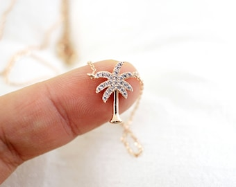 Tiny Rose Gold Palm Tree Charm Necklace, Rose Gold Rhinestone Palm Tree Necklace, Bridesmaid Gift, Birthday Gift,Layered Necklace,7051