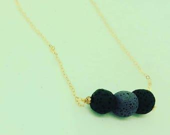 Lava Necklace, Lava Stone Necklace, Oil Diffuser Necklace, Essential Oil Necklace, Aromatherepy Necklace, minimualist necklace