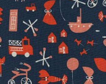 SPECTACLE Unbleached Cotton By Christian Robinson  for Cotton and Steel Fabrics Commotion Navy