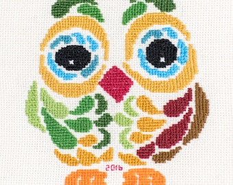 Modern Owl Completed Cross Stitch Wall Art