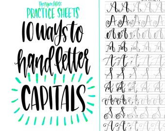 Hand Lettering Practice Sheets | 10 Ways to Hand Letter the Alphabet | Capital | Learn Brush Calligraphy