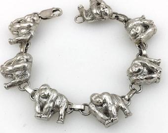 Vintage designer CAROL FELLEY Gorilla Safari Sterling Silver Link Bracelet