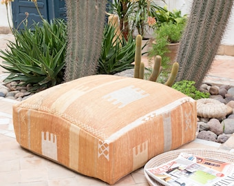 Moroccan Pouf, Cactus Silk Pouf Ottoman, Floor Cushion, Floor Pillow, Foot Stool, Refashioned from a Berber Sabra Rug. PNS141