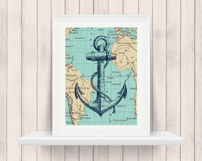 Nautical Decor - Anchor Printable  - Dorm Decor - 8 X 10  INSTANT Download