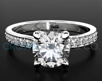 Engagement Ring With Accents 1.1 ct Round Brilliant Cut Diamond Certified F VVS Ladies White Gold Ring 18K Setting