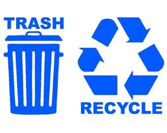 Recycle Trash Symbol Decals Choose Color & Size