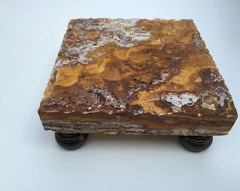 "Deluxe travertine trivet / display pedestal / 6"" x 6"""