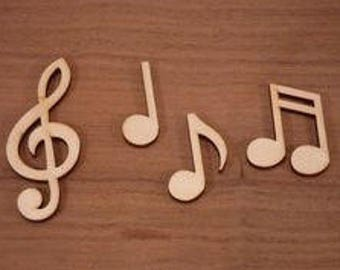 """Music - Music Notes - Treble Clef - Double Note - Single Note - Bass Clef - Sharp- Wood Music Note - 8"""""""
