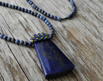 Long Necklace - Sunset Dumortierite beads - Lapis Pendant - Statement Necklace - Beaded Bale Lapis Pendant - BOHO