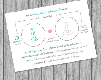 Science / Chemistry Themed Bridal Shower or Engagement Invitation