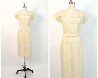 Vintage 1950s Dress 50s Lace Nelly Don Wiggle Dress