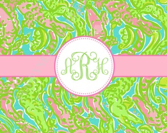 Lilly Pulitzer personalized folded note cards, Lilly Pulitzer stationery, monogram, preppy